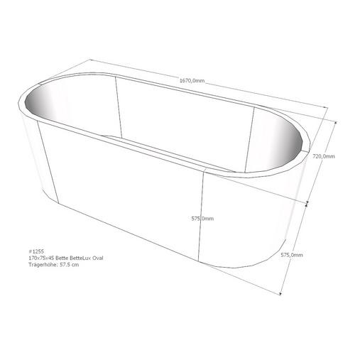 Wannenträger für Bette BetteLux Oval, Ablauf mittig, 170 x 75 x 45 cm