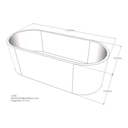 Wannenträger für Bette BetteLux Oval, Ablauf mittig, 180 x 80 x 45 cm