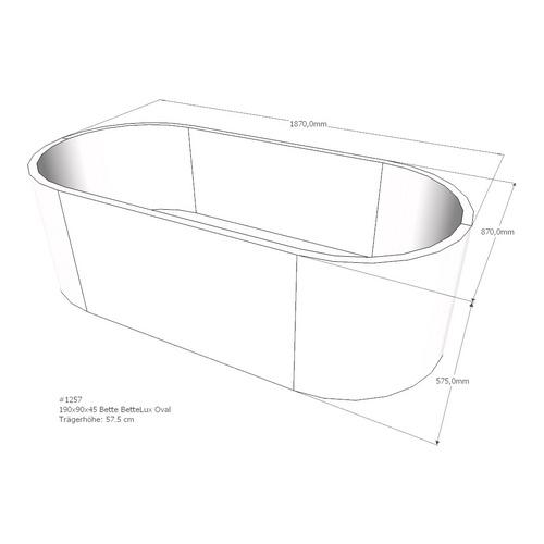 Wannenträger für Bette BetteLux Oval, Ablauf mittig, 190 x 90 x 45 cm