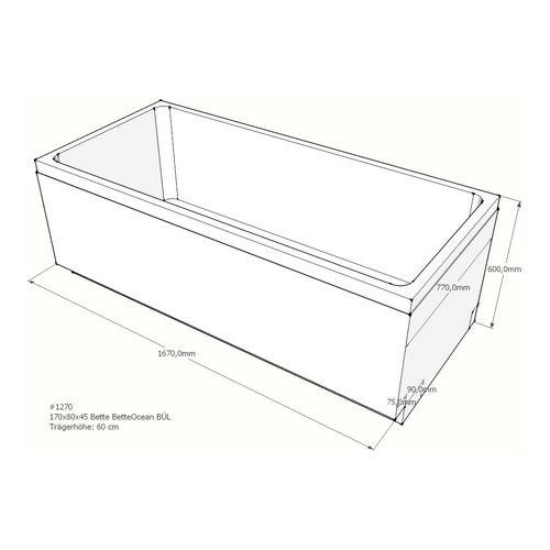 Wannenträger Bette BetteOcean BÜL 170x80x45 cm Überlauf hinten A