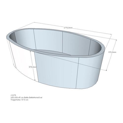 Wannenträger Bette BetteHome 180x100x45 cm Oval ohne Ablage AM