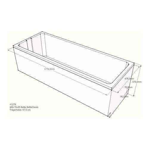 Wannenträger Bette BetteClassic 180x70x45 cm AF
