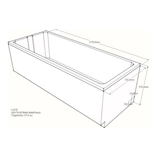 Wannenträger Bette BetteClassic 180x75x45 cm AF