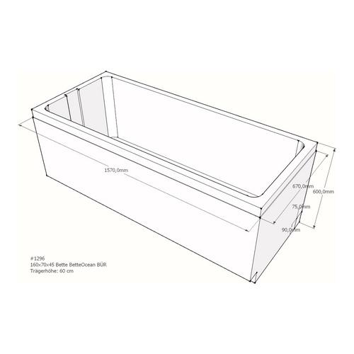 Wannenträger Bette BetteOcean BÜR 160x70x45 cm Überlauf vorne AV
