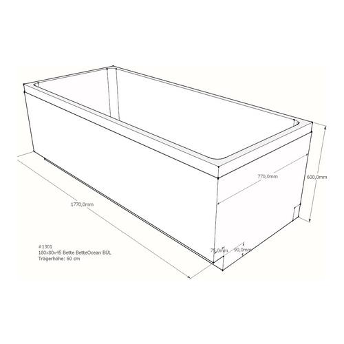 Wannenträger Bette BetteOcean BÜL 180x80x45 cm Überlauf hinten A