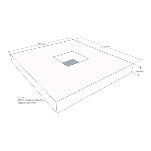 Duschwannenträger Bette BetteOne 100x90x3,6 cm AMD (immer mit Fu