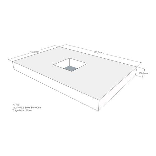 Duschwannenträger Bette BetteOne 120x80x3,6 cm AMD (immer mit Fu