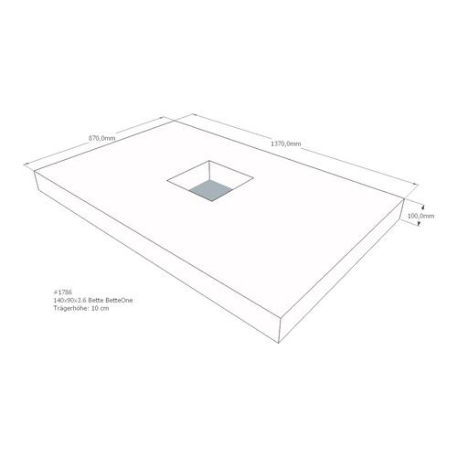 Duschwannenträger Bette BetteOne 140x90x3,6 cm AMD (immer mit Fu