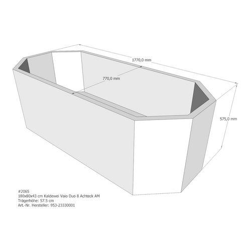 Wannenträger für Badewanne Kaldewei Vaio Duo 8, Ablauf mittig, 180 x 80 x 43 cm