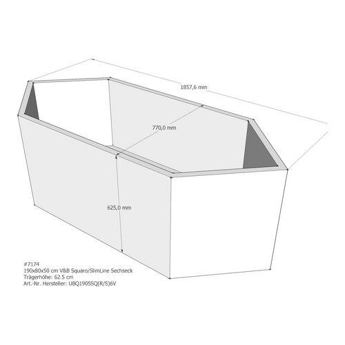 LDG Wannenträger Squaro 190x80x50 cm Sechseck AM 1