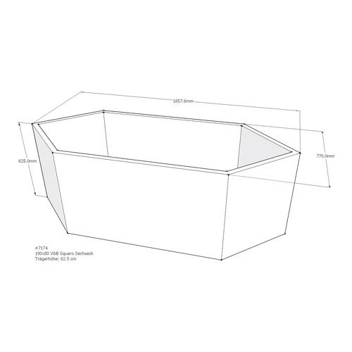 Wannenträger Squaro 190x80x50 cm Sechseck AM
