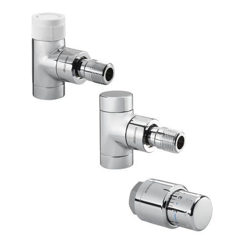 Oventrop Anschluss-Set Thermostatventil E, Eckform, mit Uni SH, verchromt