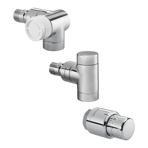 "Anschluss-Set Thermostatventil ""E"" als Eckform, Winkel-Eck rechts inkl. Thermostat ""Uni SH"""