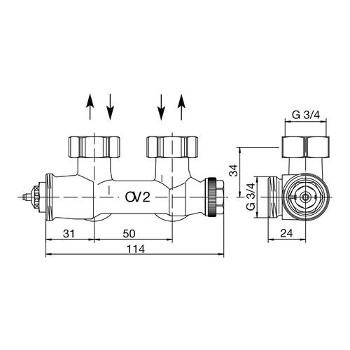 Oventrop Anschlussarmatur Multiblock T, mit Voreinstellung, Eckform 2