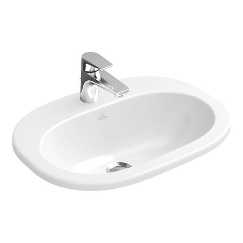 O.novo Einbau-Waschtisch 56 × 40,5 cm, weiß ohne Überlauf