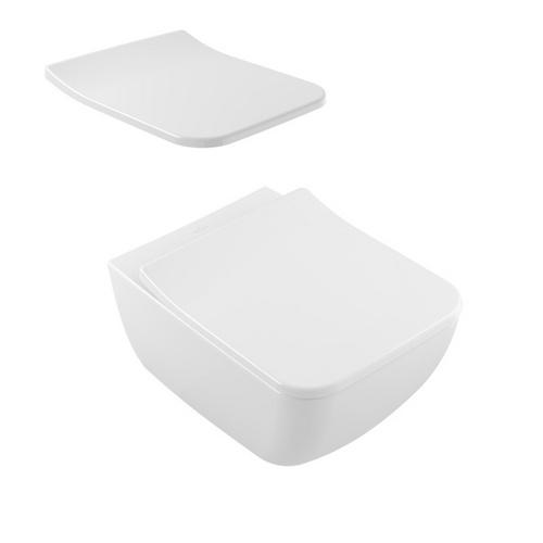 Keramik Venticello Tiefspül WC Spülrandlos 56 x 37,5 cm, Combipack SlimSeat