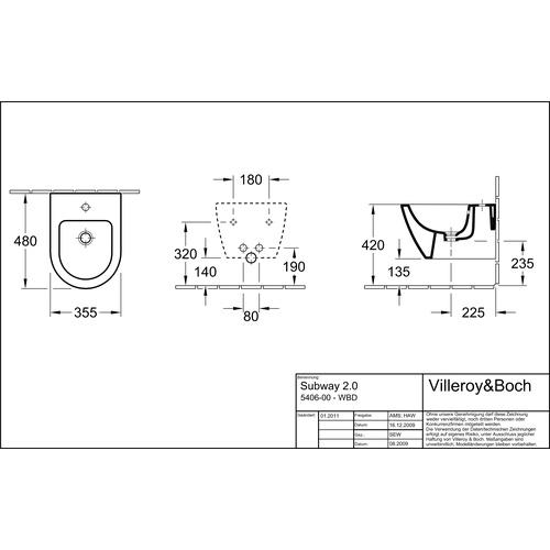Villeroy & Boch SUBWAY 2.0 Bidet compact 35,5x48 cm 540600 1