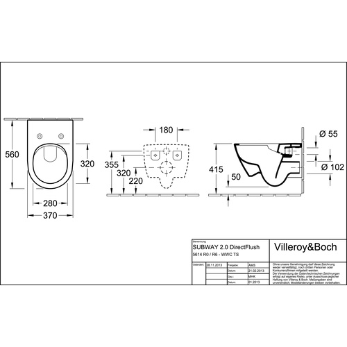 Villeroy & Boch Subway 2.0 Tiefspül-WC mit DirectFlush (ohne Spülrand) und CeramicPlus 1