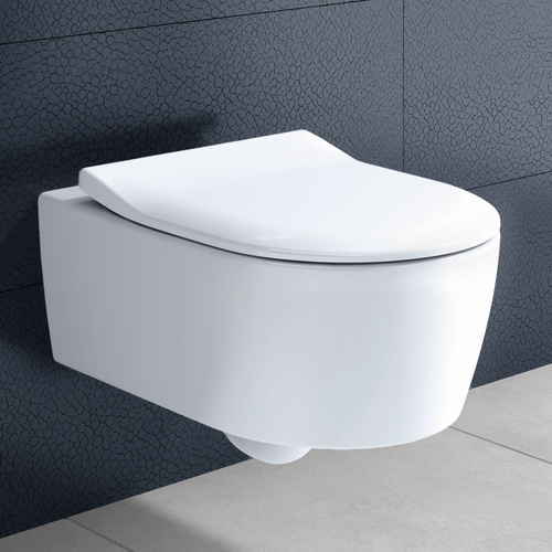 Avento Combi-Pack Tiefspülklosett spülrandlos CeramicPlus mit Slim-Seat WC-Sitz Softclosing