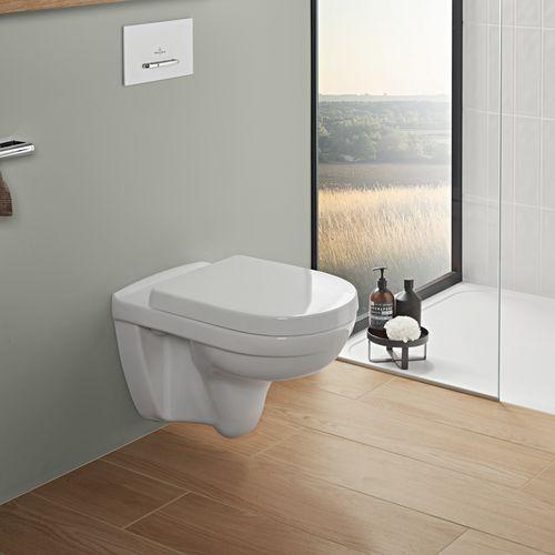 O.novo spülrandlos Tiefspül-WC mit CeramicPlus und WC-Sitz mit Soft Closing (36 × 56 cm)