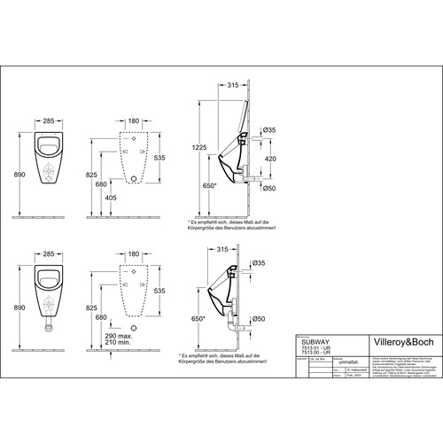 Villeroy & Boch SUBWAY Absaug-Urinal ungeeignet für Deckel, weiß alpin 28,5 × 53,5 × 31,5 cm 1