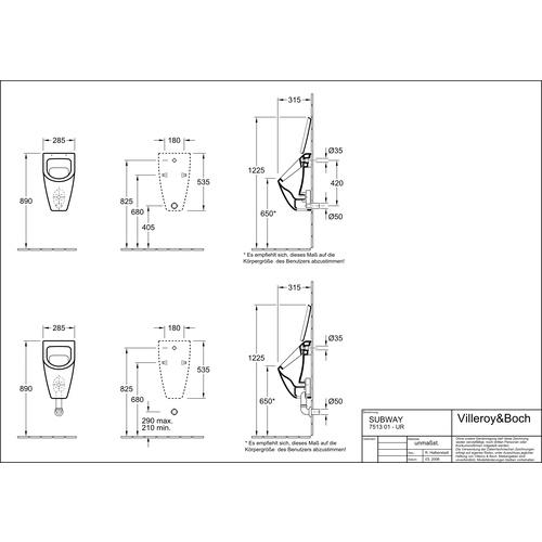 Villeroy & Boch SUBWAY Absaug-Urinal geeignet für Deckel, weiß alpin 28,5 x 53,5 x 31,5 cm 1