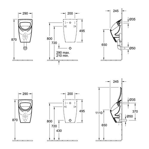Villeroy & Boch O.novo Absaug-Urinal compact 29 × 49,5 × 24,5 cm, für Deckel, Zulauf verdeckt 1