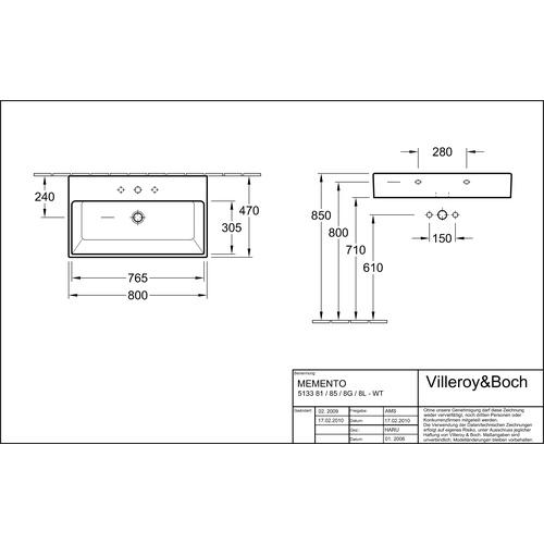 Villeroy & Boch Waschtisch Memento 80x47 cm HL o.ÜL 513381 - Design ...