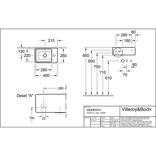 villeroy boch handwaschbecken memento 40x26 cm hl re. Black Bedroom Furniture Sets. Home Design Ideas