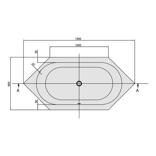 villeroy boch sechseck badewanne loop friends duo 190x90 ovale innenform design in bad. Black Bedroom Furniture Sets. Home Design Ideas