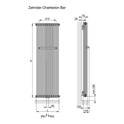 Charleston Bar Heizkörper als 3-Säuler mit 12 Elementen H: 150 x L ...