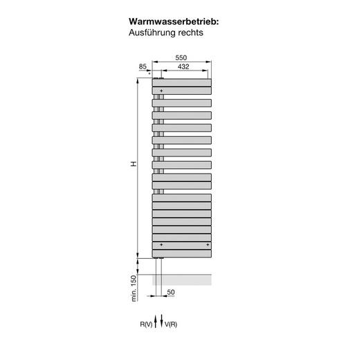 Zehnder Roda Spa Asym Designheizkörper (rechts) 167,6 x 55 cm 1