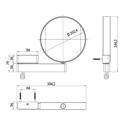 emco prime Rasier- und Kosmetikspiegel mit LED-Beleuchtung ⌀ 20,2 cm 1