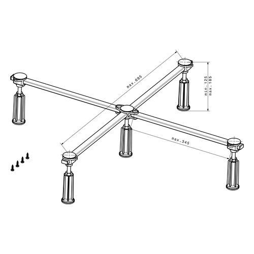 Ferroplast® D5 Standard XL Duschwannenfuß für Acryl- und Stahlduschwannen von 75 x 80 cm bis 100 x 100 cm